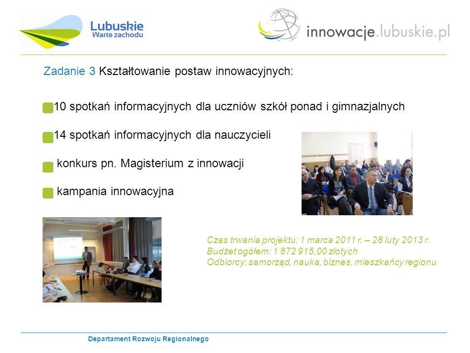 Zadanie 3 Kształtowanie postaw innowacyjnych: 10 spotkań informacyjnych dla uczniów szkół ponad i gimnazjalnych 14 spotkań informacyjnych dla nauczycieli konkurs pn.