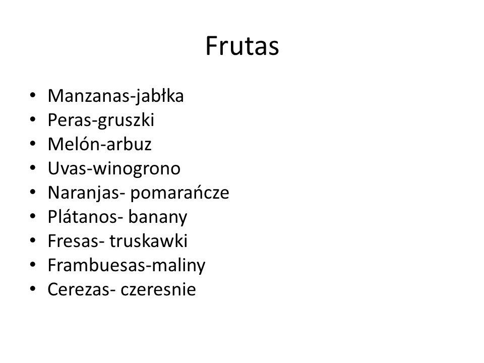 Frutas Manzanas-jabłka Peras-gruszki Melón-arbuz Uvas-winogrono Naranjas- pomarańcze Plátanos- banany Fresas- truskawki Frambuesas-maliny Cerezas- cze