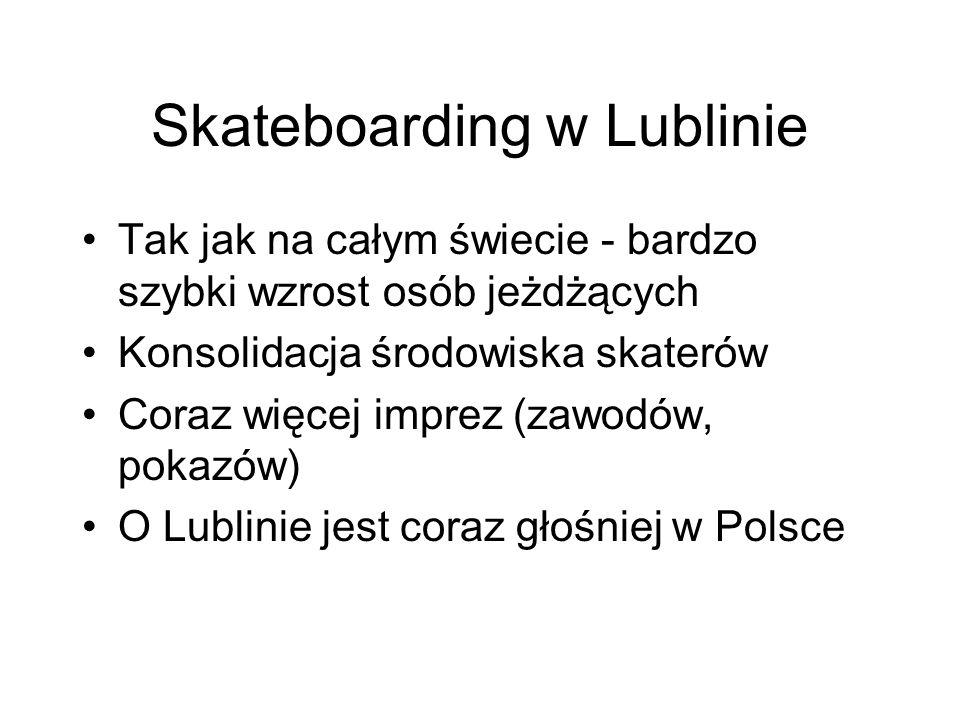 Skateboarding w Lublinie Tak jak na całym świecie - bardzo szybki wzrost osób jeżdżących Konsolidacja środowiska skaterów Coraz więcej imprez (zawodów, pokazów) O Lublinie jest coraz głośniej w Polsce