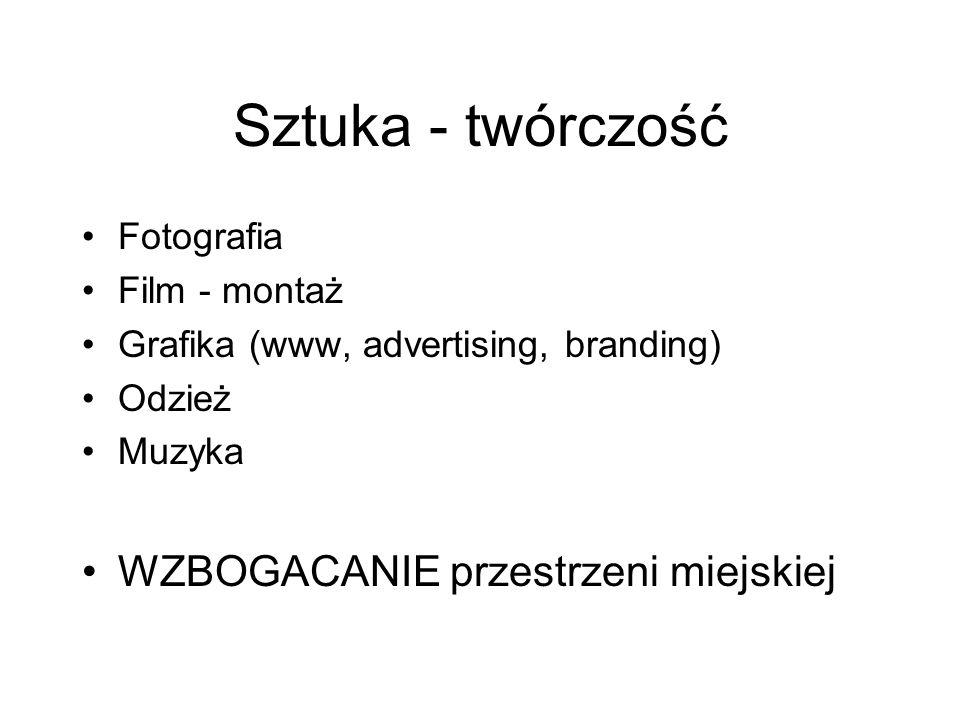 Sztuka - twórczość Fotografia Film - montaż Grafika (www, advertising, branding) Odzież Muzyka WZBOGACANIE przestrzeni miejskiej