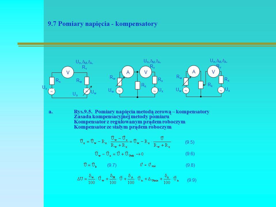 9.7 Pomiary napięcia - kompensatory UoUo V RxRx UxUx RwRw UwUw Un,M,A,RvUn,M,A,Rv   RkRk A RxRx UxUx RwRw UwUw Un,M,A,RvUn,M,A,Rv   V RkRk A RxRx UxUx RwRw UwUw Un,M,A,RvUn,M,A,Rv   V (9.5) (9.6) (9.7)(9.8) (9.9) a.Rys.9.5.