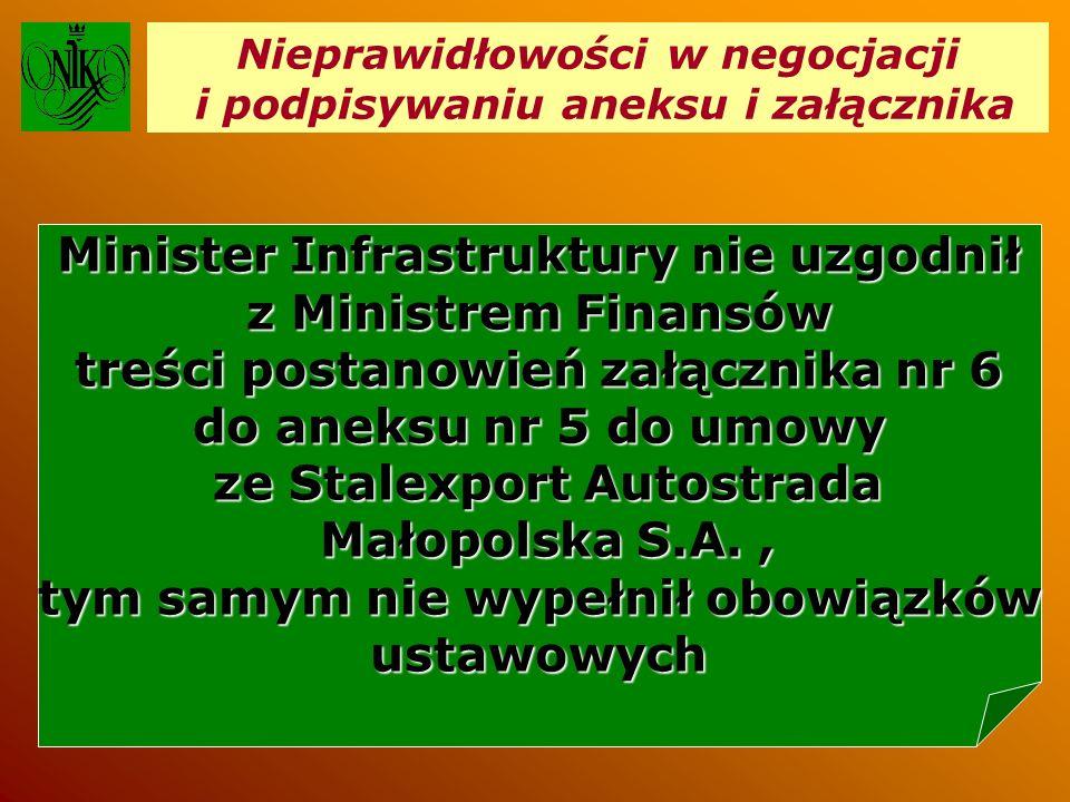 Nieprawidłowości w negocjacji i podpisywaniu aneksu i załącznika Minister Infrastruktury nie uzgodnił z Ministrem Finansów treści postanowień załącznika nr 6 do aneksu nr 5 do umowy ze Stalexport Autostrada ze Stalexport Autostrada Małopolska S.A., Małopolska S.A., tym samym nie wypełnił obowiązków ustawowych