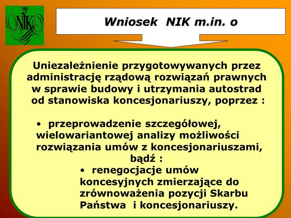 Wniosek NIK m.in. o Uniezależnienie przygotowywanych przez administrację rządową rozwiązań prawnych w sprawie budowy i utrzymania autostrad od stanowi