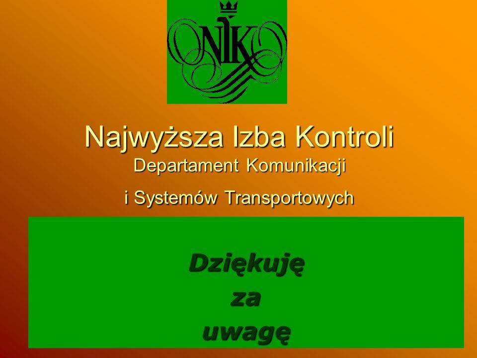 Najwyższa Izba Kontroli Departament Komunikacji i Systemów Transportowych Dziękujęzauwagę
