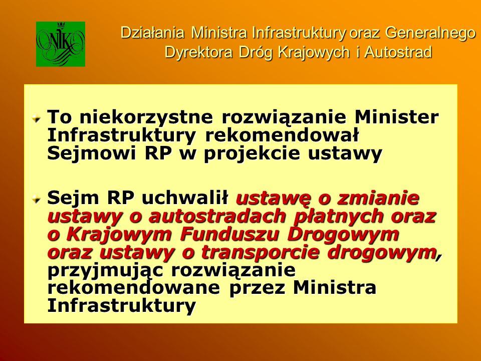 Działania Ministra Infrastruktury oraz Generalnego Dyrektora Dróg Krajowych i Autostrad To niekorzystne rozwiązanie Minister Infrastruktury rekomendow