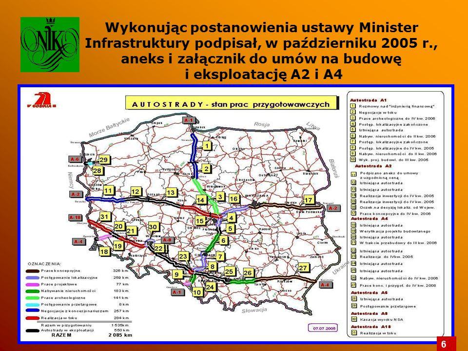 Wykonując postanowienia ustawy Minister Infrastruktury podpisał, w październiku 2005 r., aneks i załącznik do umów na budowę i eksploatację A2 i A4 6
