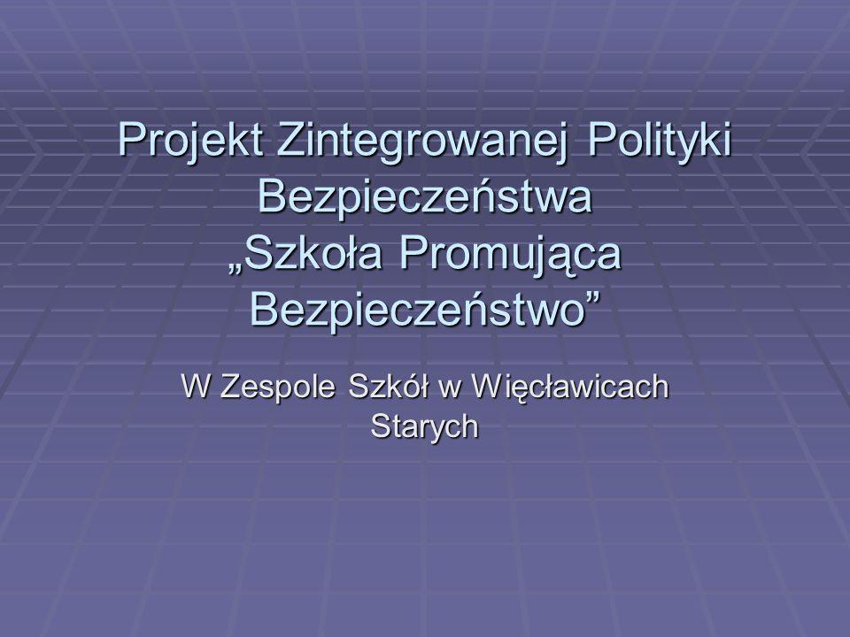 """Projekt Zintegrowanej Polityki Bezpieczeństwa """"Szkoła Promująca Bezpieczeństwo W Zespole Szkół w Więcławicach Starych"""