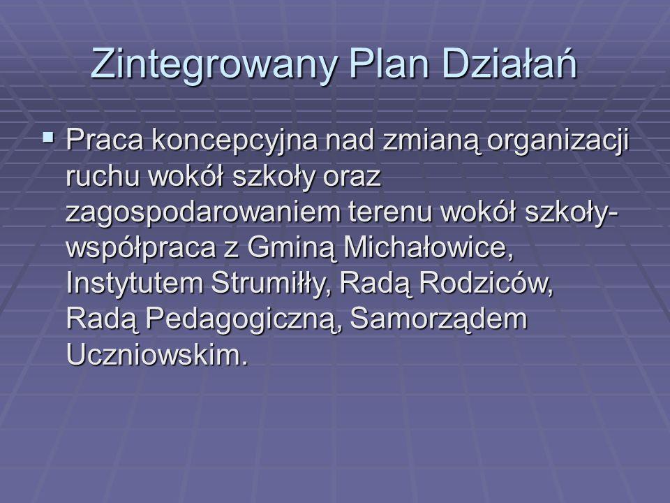 Zintegrowany Plan Działań  Praca koncepcyjna nad zmianą organizacji ruchu wokół szkoły oraz zagospodarowaniem terenu wokół szkoły- współpraca z Gminą