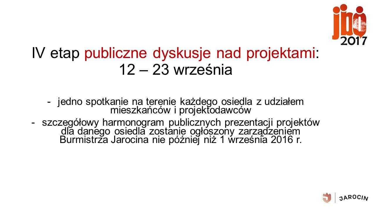 IV etap publiczne dyskusje nad projektami: 12 – 23 września -jedno spotkanie na terenie każdego osiedla z udziałem mieszkańców i projektodawców -szczegółowy harmonogram publicznych prezentacji projektów dla danego osiedla zostanie ogłoszony zarządzeniem Burmistrza Jarocina nie później niż 1 września 2016 r.