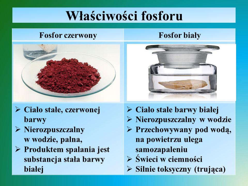 Właściwości fosforu Fosfor czerwonyFosfor biały  Ciało stałe, czerwonej barwy  Nierozpuszczalny w wodzie, palna,  Produktem spalania jest substancj