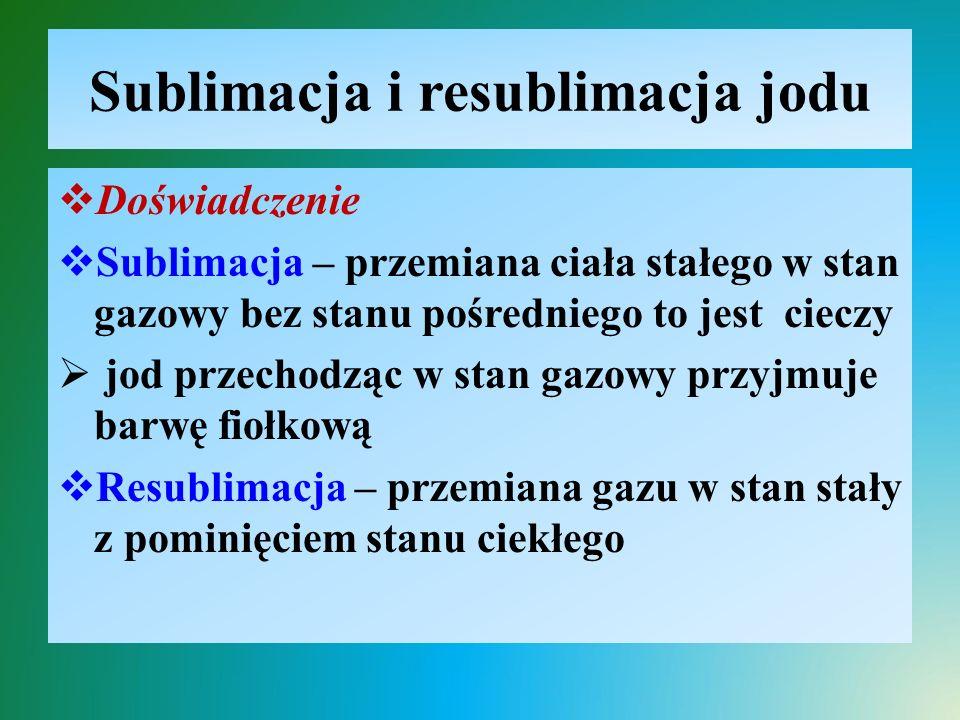 Sublimacja i resublimacja jodu  Doświadczenie  Sublimacja – przemiana ciała stałego w stan gazowy bez stanu pośredniego to jest cieczy  jod przecho