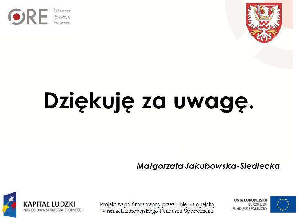 Dziękuję za uwagę. Małgorzata Jakubowska-Siedlecka