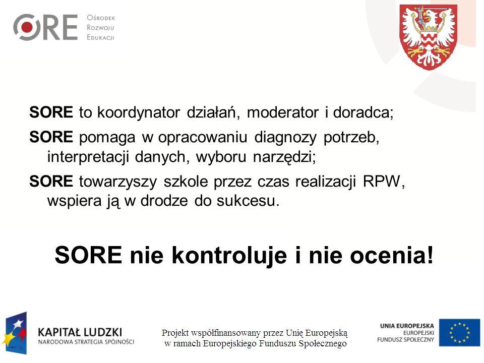 SORE to koordynator działań, moderator i doradca; SORE pomaga w opracowaniu diagnozy potrzeb, interpretacji danych, wyboru narzędzi; SORE towarzyszy szkole przez czas realizacji RPW, wspiera ją w drodze do sukcesu.