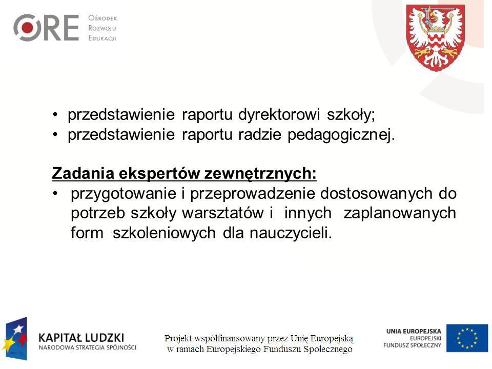 przedstawienie raportu dyrektorowi szkoły; przedstawienie raportu radzie pedagogicznej.
