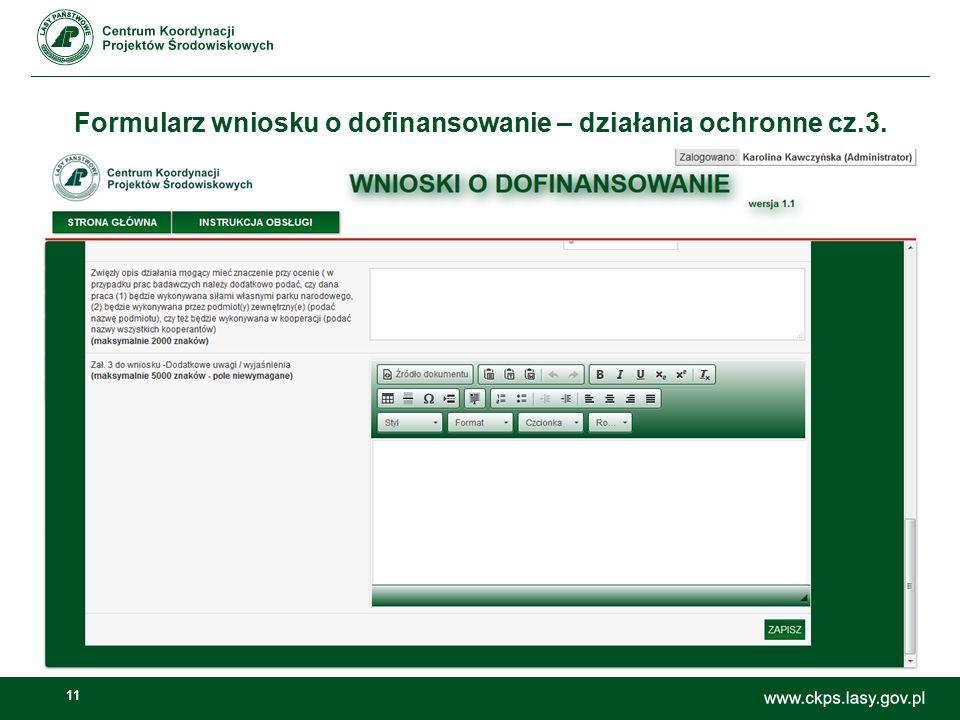 11 Formularz wniosku o dofinansowanie – działania ochronne cz.3.