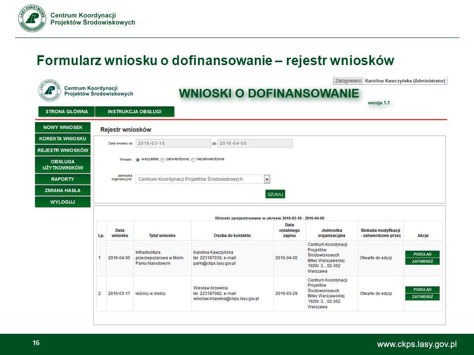 16 Formularz wniosku o dofinansowanie – rejestr wniosków