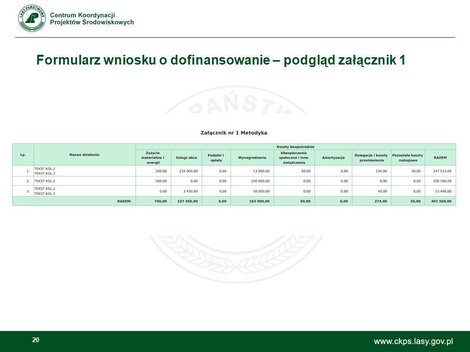 20 Formularz wniosku o dofinansowanie – podgląd załącznik 1