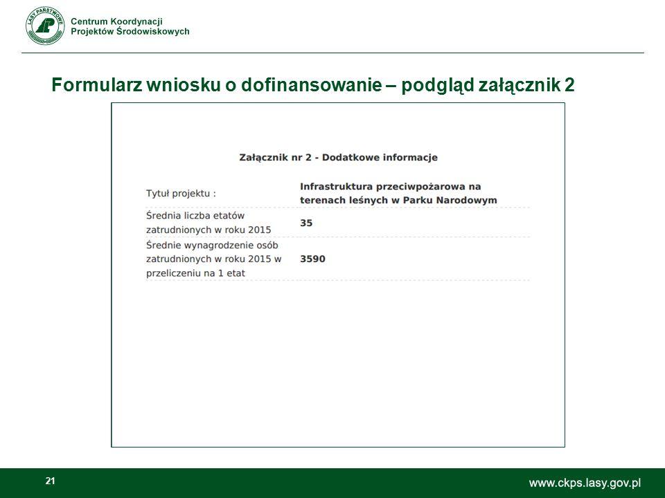 21 Formularz wniosku o dofinansowanie – podgląd załącznik 2