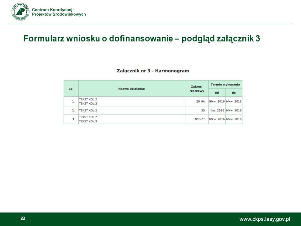 22 Formularz wniosku o dofinansowanie – podgląd załącznik 3
