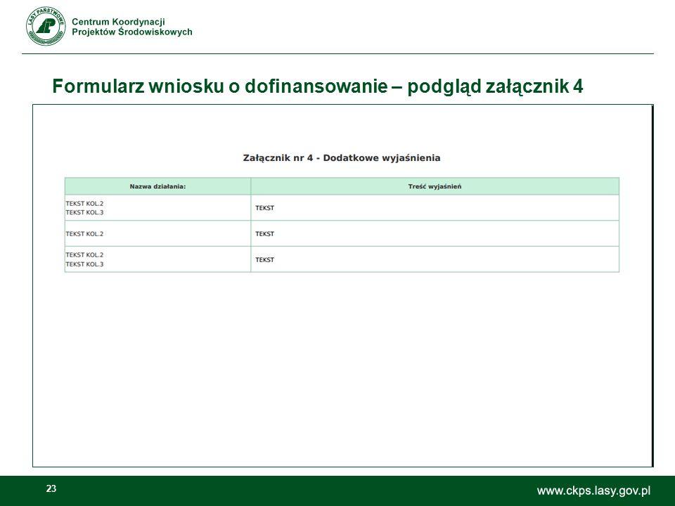 23 Formularz wniosku o dofinansowanie – podgląd załącznik 4