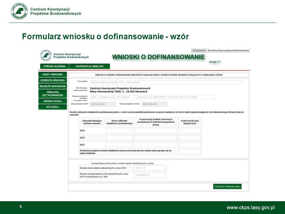 5 Formularz wniosku o dofinansowanie - wzór