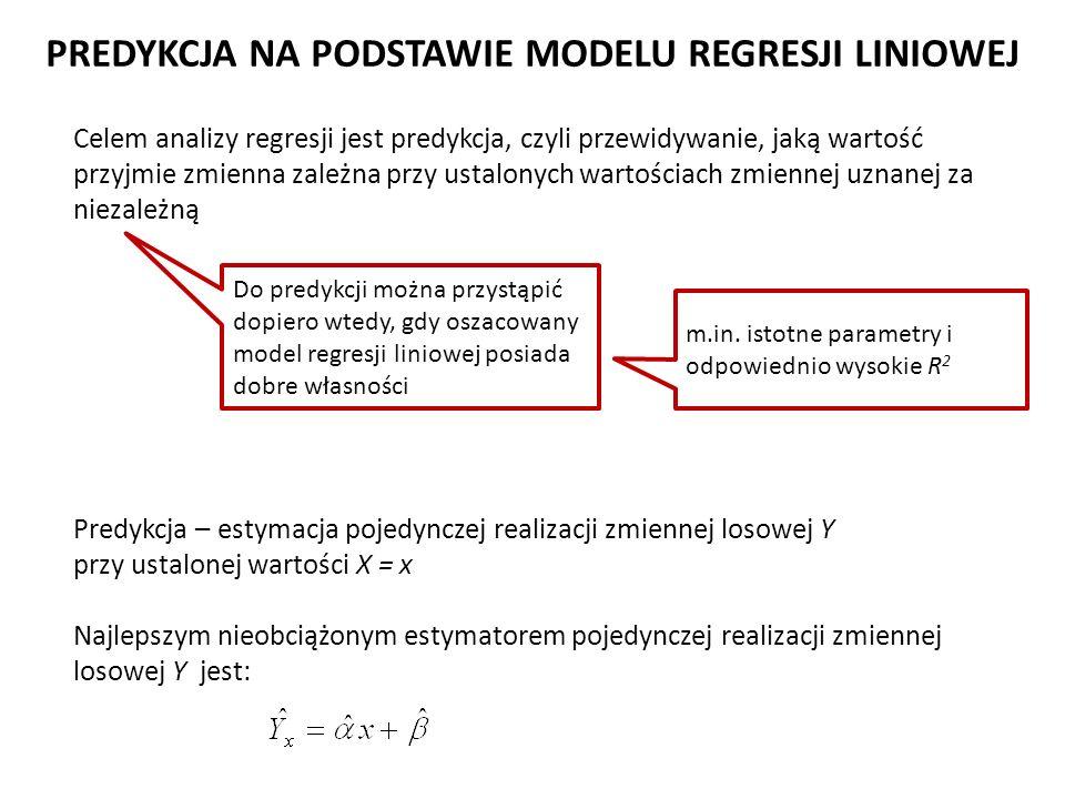 Celem analizy regresji jest predykcja, czyli przewidywanie, jaką wartość przyjmie zmienna zależna przy ustalonych wartościach zmiennej uznanej za niez