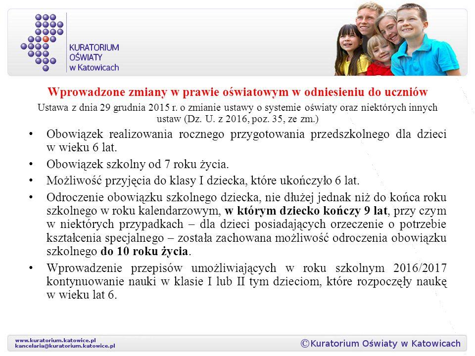 Wprowadzone zmiany w prawie oświatowym w odniesieniu do uczniów Ustawa z dnia 29 grudnia 2015 r.