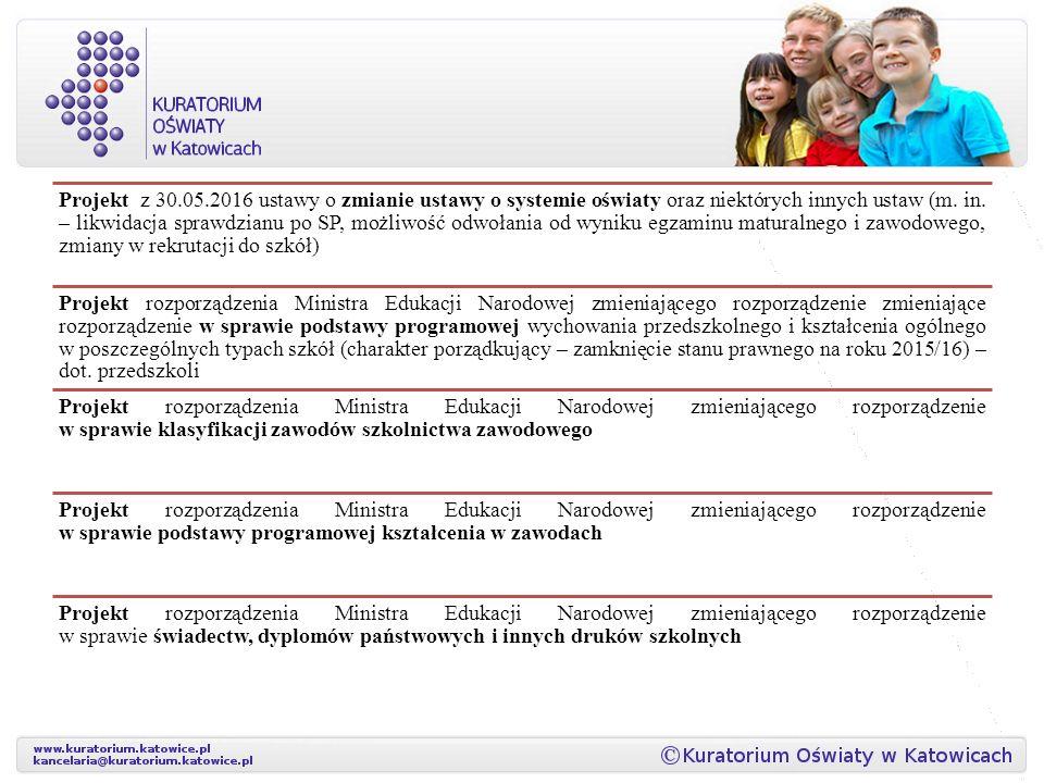 Projekt z 30.05.2016 ustawy o zmianie ustawy o systemie oświaty oraz niektórych innych ustaw (m.