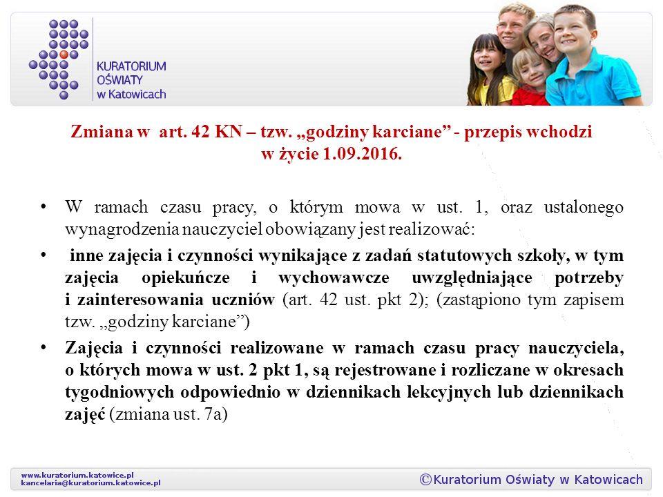 """Zmiana w art. 42 KN – tzw. """"godziny karciane - przepis wchodzi w życie 1.09.2016."""