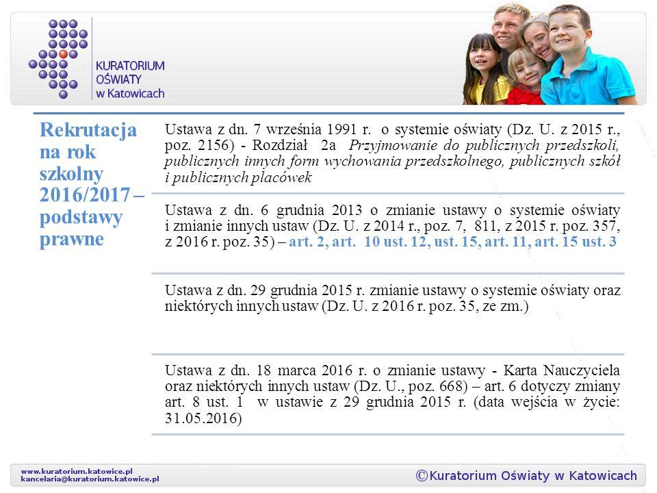 Rekrutacja na rok szkolny 2016/2017 – podstawy prawne Ustawa z dn.