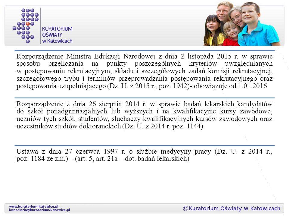 Rozporządzenie Ministra Edukacji Narodowej z dnia 2 listopada 2015 r.
