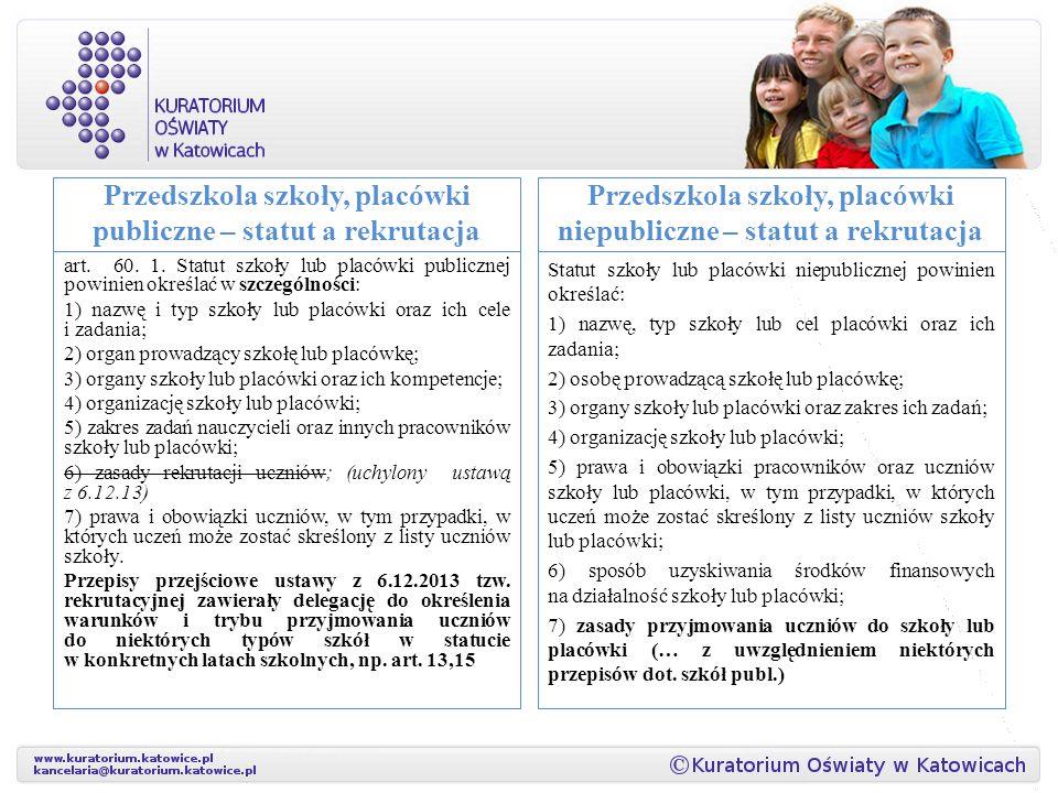 Przedszkola szkoły, placówki publiczne – statut a rekrutacja art.