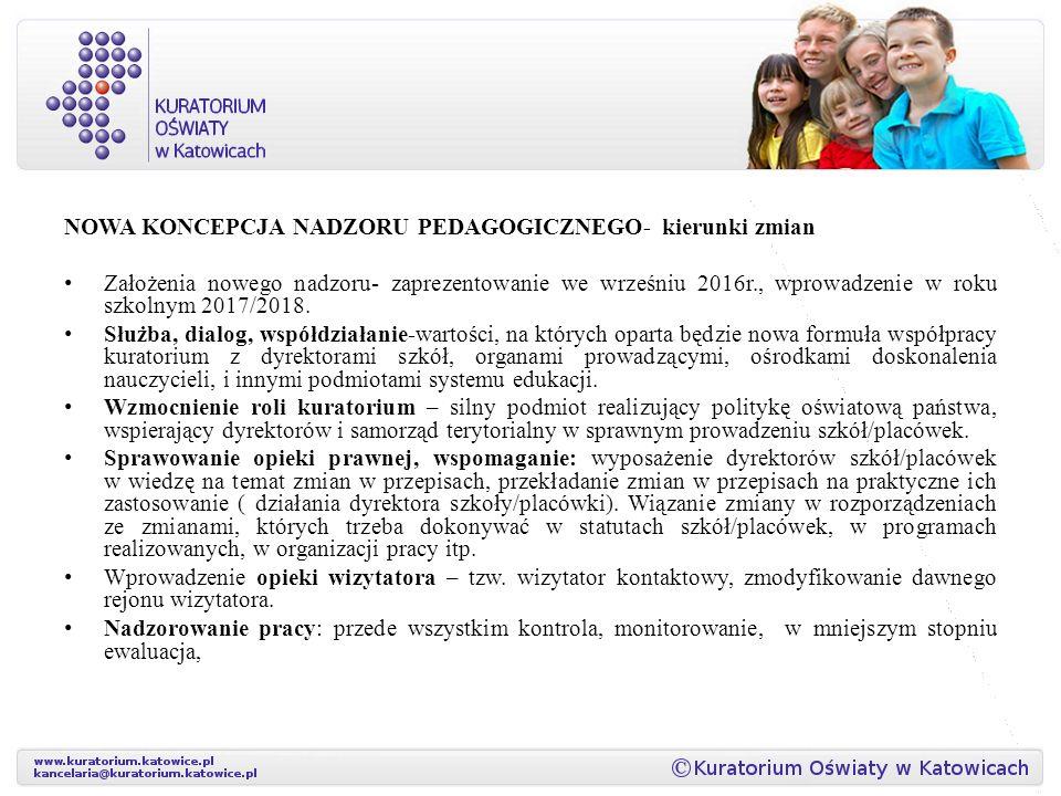 NOWA KONCEPCJA NADZORU PEDAGOGICZNEGO- kierunki zmian Założenia nowego nadzoru- zaprezentowanie we wrześniu 2016r., wprowadzenie w roku szkolnym 2017/2018.