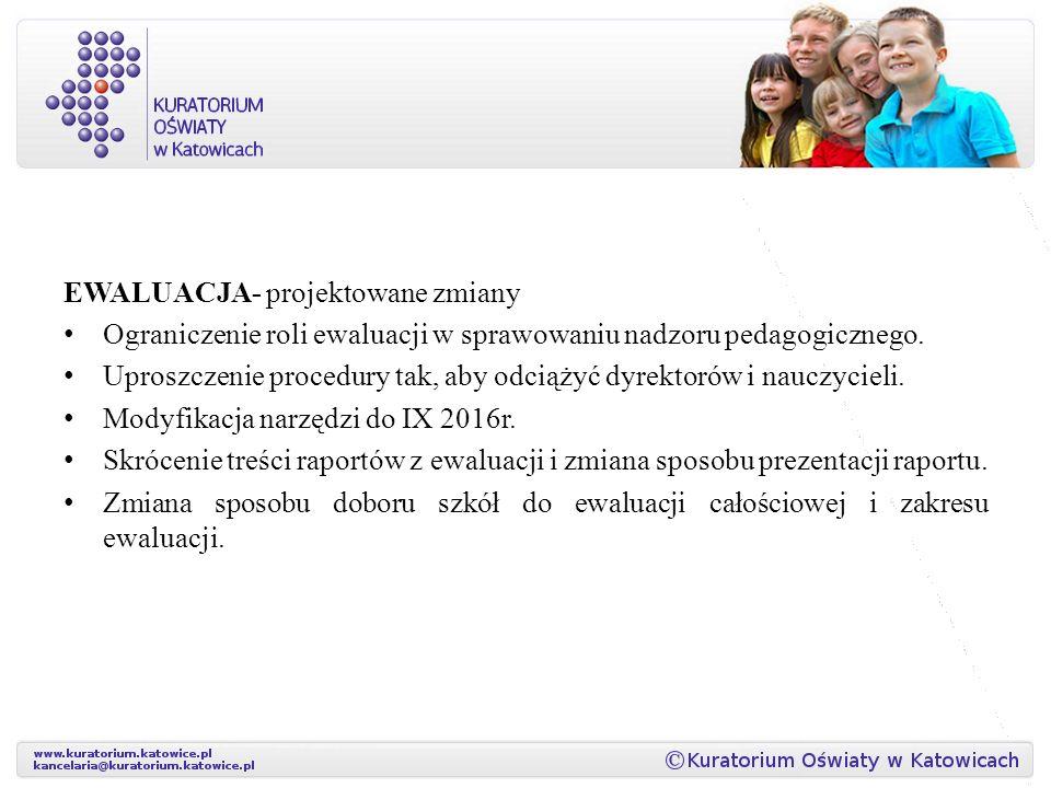 EWALUACJA- projektowane zmiany Ograniczenie roli ewaluacji w sprawowaniu nadzoru pedagogicznego.