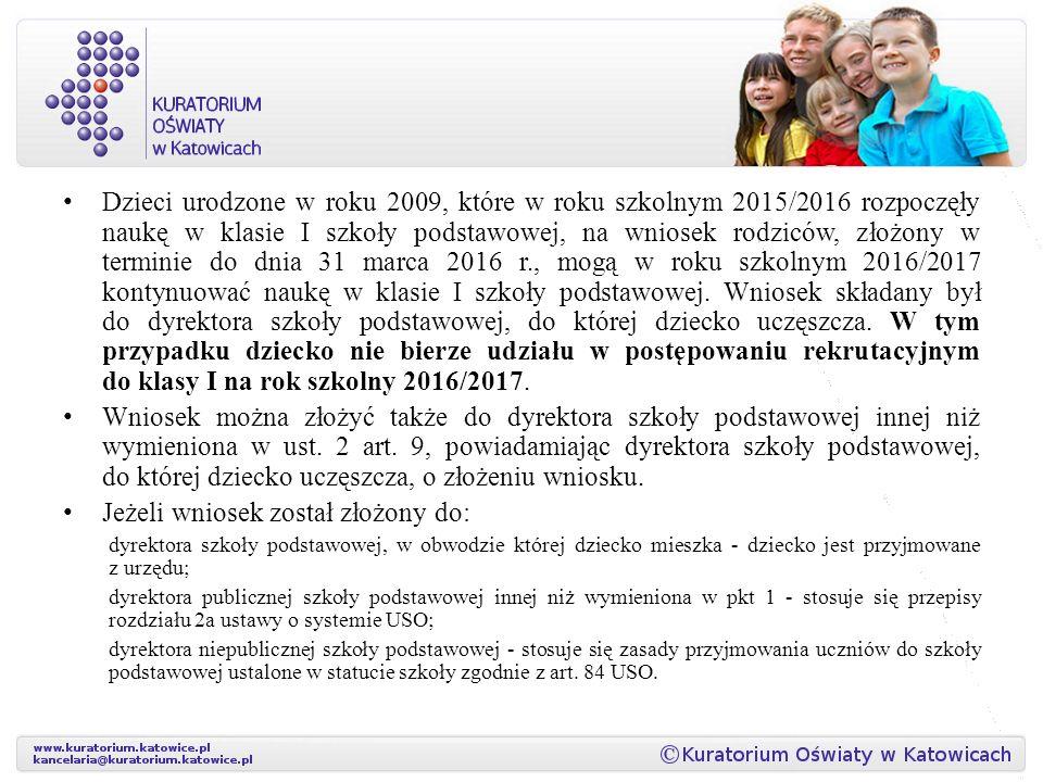 Dzieci urodzone w roku 2009, które w roku szkolnym 2015/2016 rozpoczęły naukę w klasie I szkoły podstawowej, na wniosek rodziców, złożony w terminie do dnia 31 marca 2016 r., mogą w roku szkolnym 2016/2017 kontynuować naukę w klasie I szkoły podstawowej.