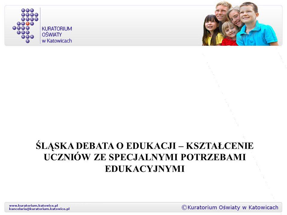 W województwie śląskim funkcjonuje 370 szkół specjalnych, ponad 1300 oddziałów integracyjnych oraz ponad 27000 oddziałów ogólnodostępnych, w których również uczą się uczniowie ze specjalnymi potrzebami edukacyjnymi.