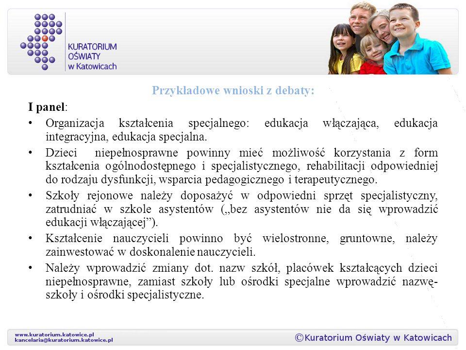 Przykładowe wnioski z debaty: I panel: Organizacja kształcenia specjalnego: edukacja włączająca, edukacja integracyjna, edukacja specjalna.