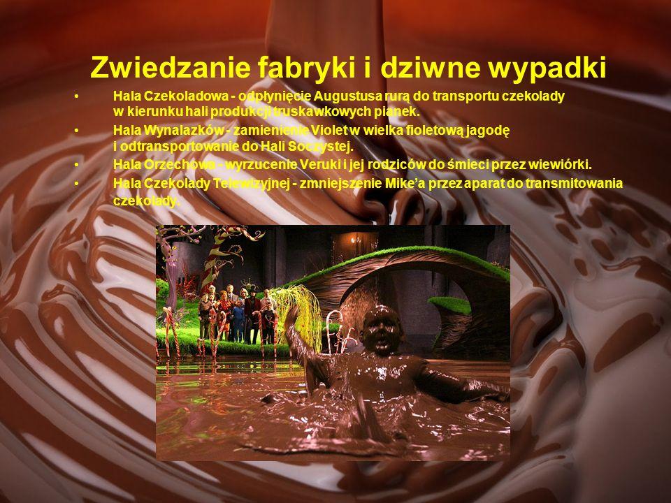 Zwiedzanie fabryki i dziwne wypadki Hala Czekoladowa - odpłynięcie Augustusa rurą do transportu czekolady w kierunku hali produkcji truskawkowych pian
