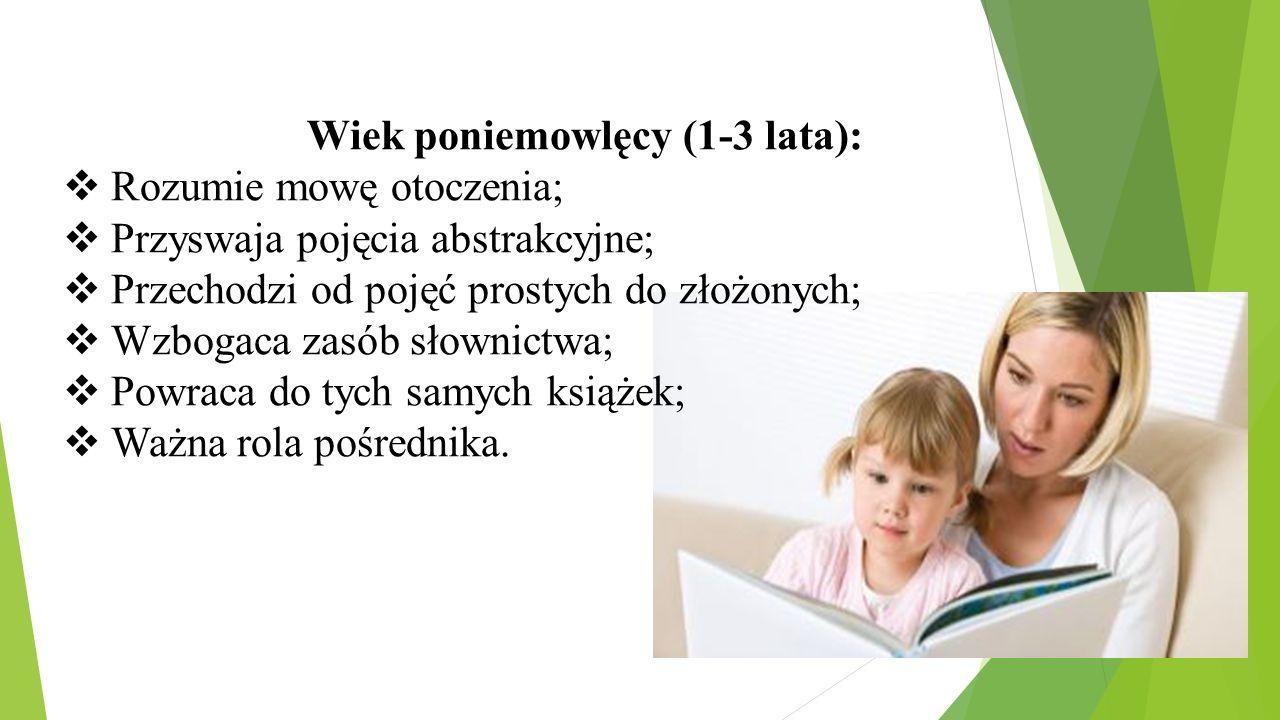 Wiek poniemowlęcy (1-3 lata):  Rozumie mowę otoczenia;  Przyswaja pojęcia abstrakcyjne;  Przechodzi od pojęć prostych do złożonych;  Wzbogaca zasó