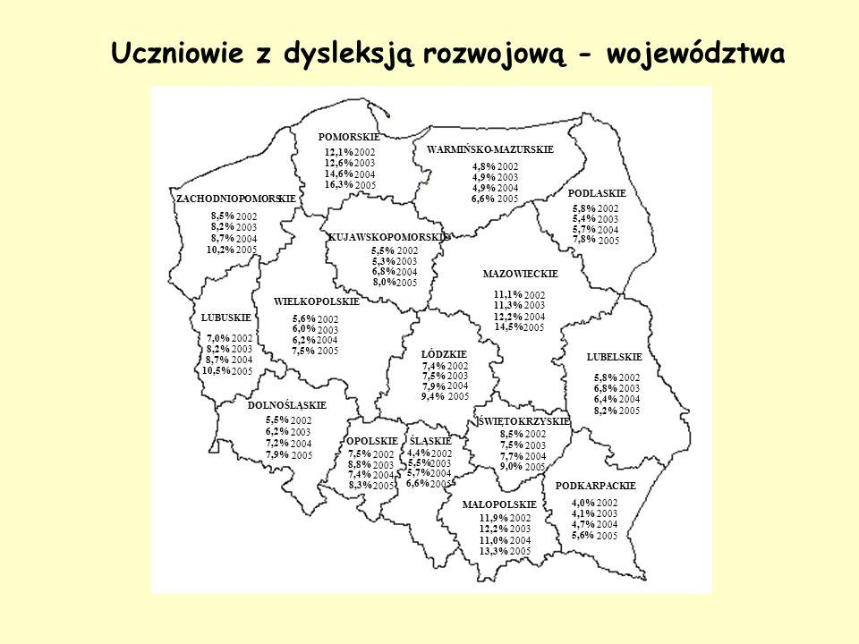 Uczniowie z dysleksją rozwojową - województwa