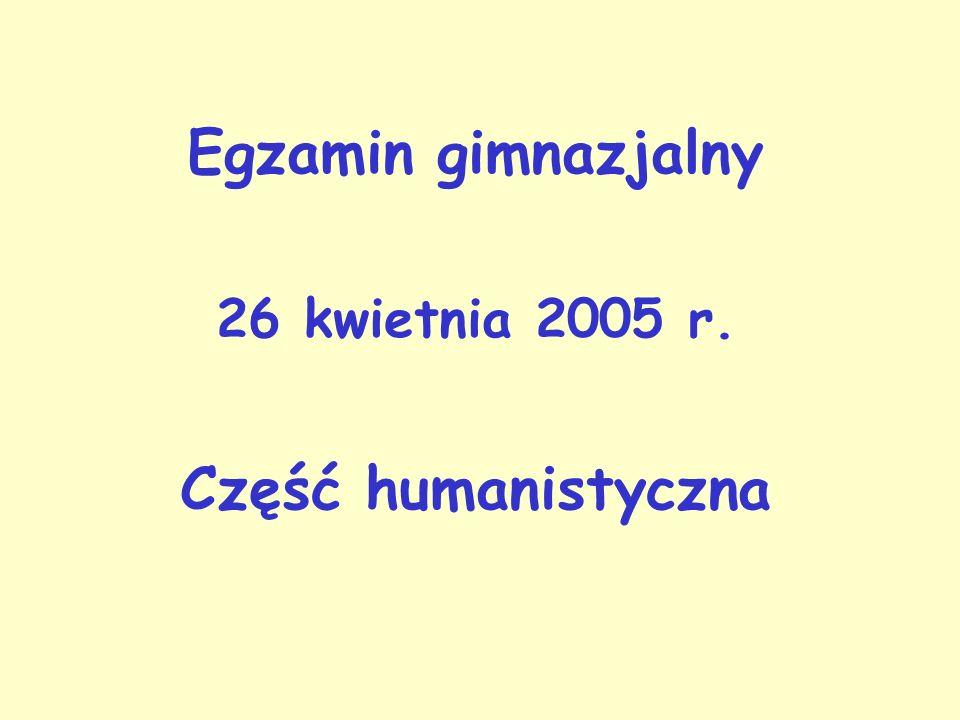 Egzamin gimnazjalny 26 kwietnia 2005 r. Część humanistyczna