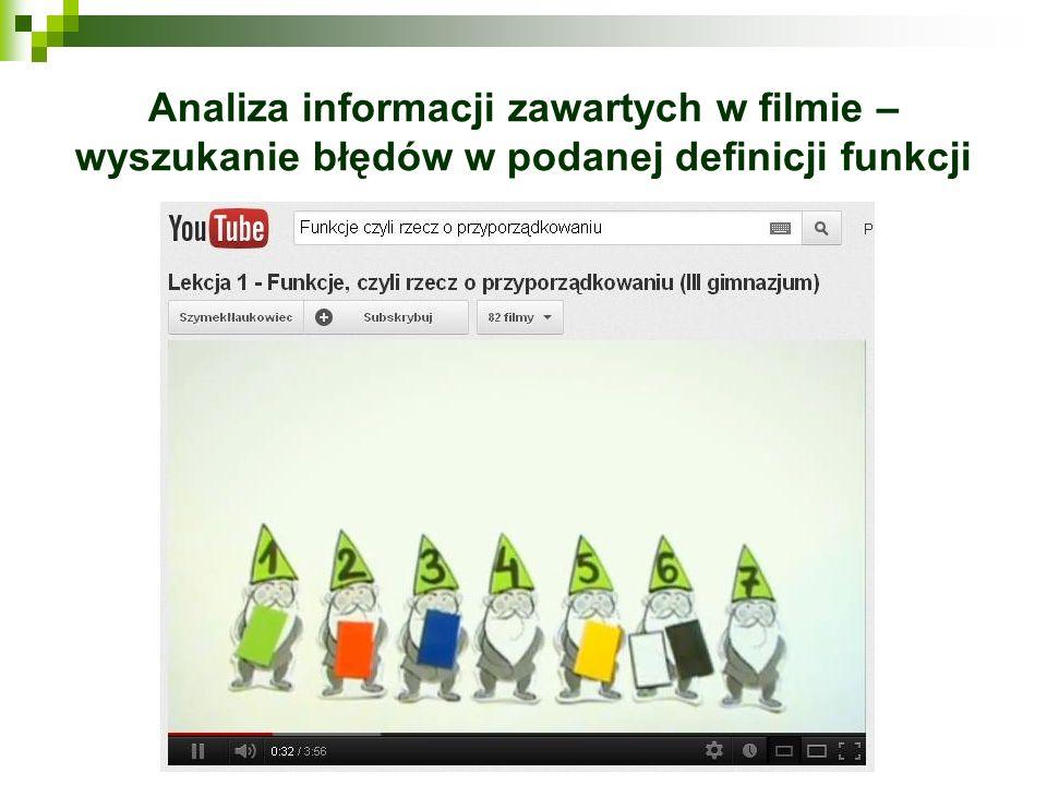 Analiza informacji zawartych w filmie – wyszukanie błędów w podanej definicji funkcji
