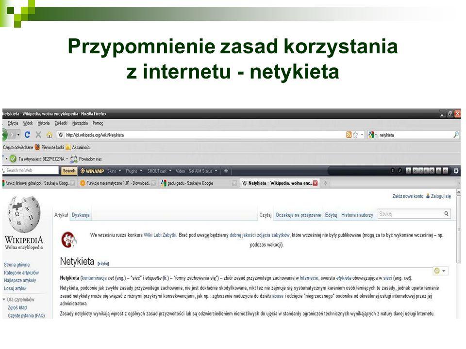 Przypomnienie zasad korzystania z internetu - netykieta