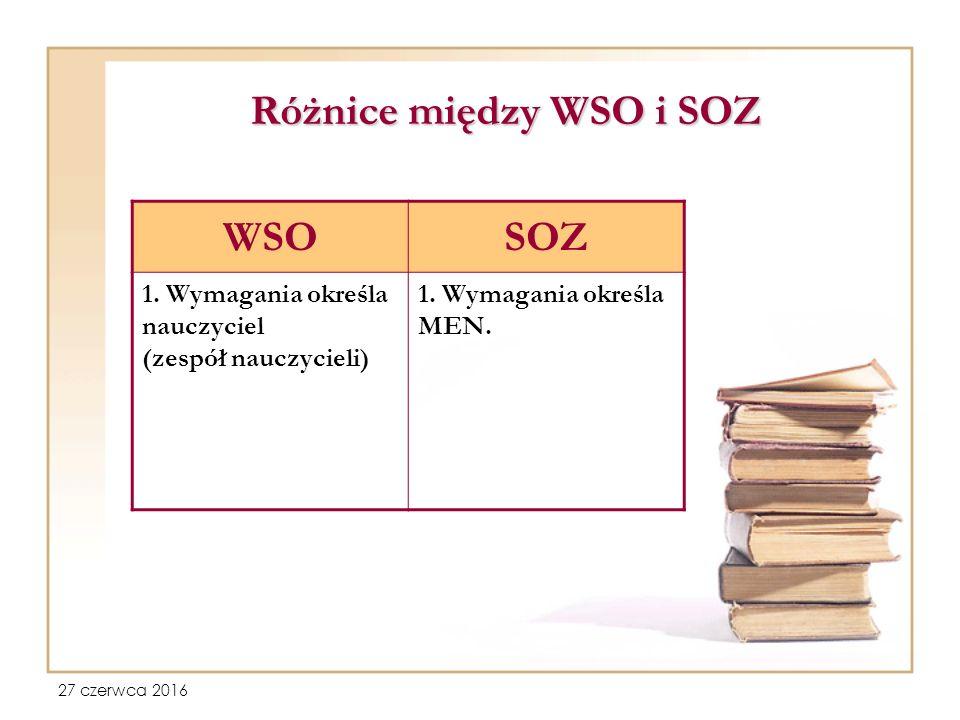27 czerwca 2016 Różnice między WSO i SOZ WSOSOZ 1.