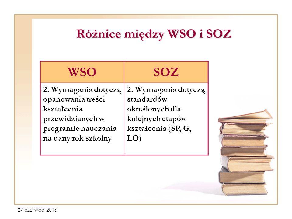 27 czerwca 2016 Różnice między WSO i SOZ WSOSOZ 2.