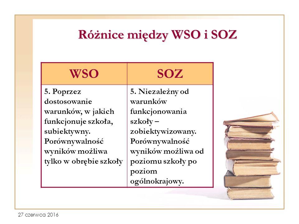 27 czerwca 2016 Różnice między WSO i SOZ WSOSOZ 5.