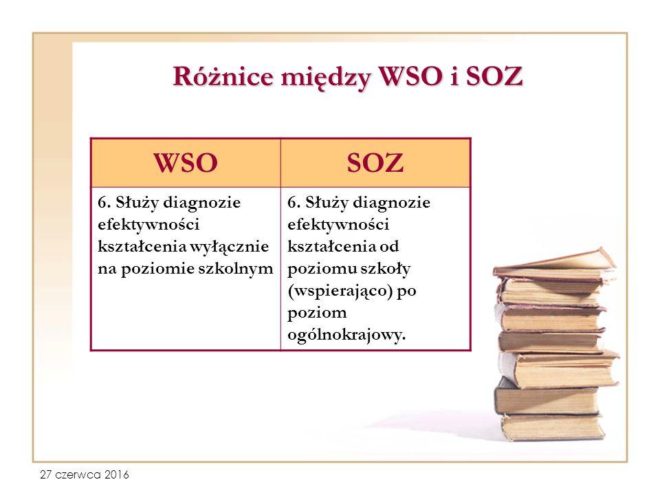 27 czerwca 2016 Różnice między WSO i SOZ WSOSOZ 6.