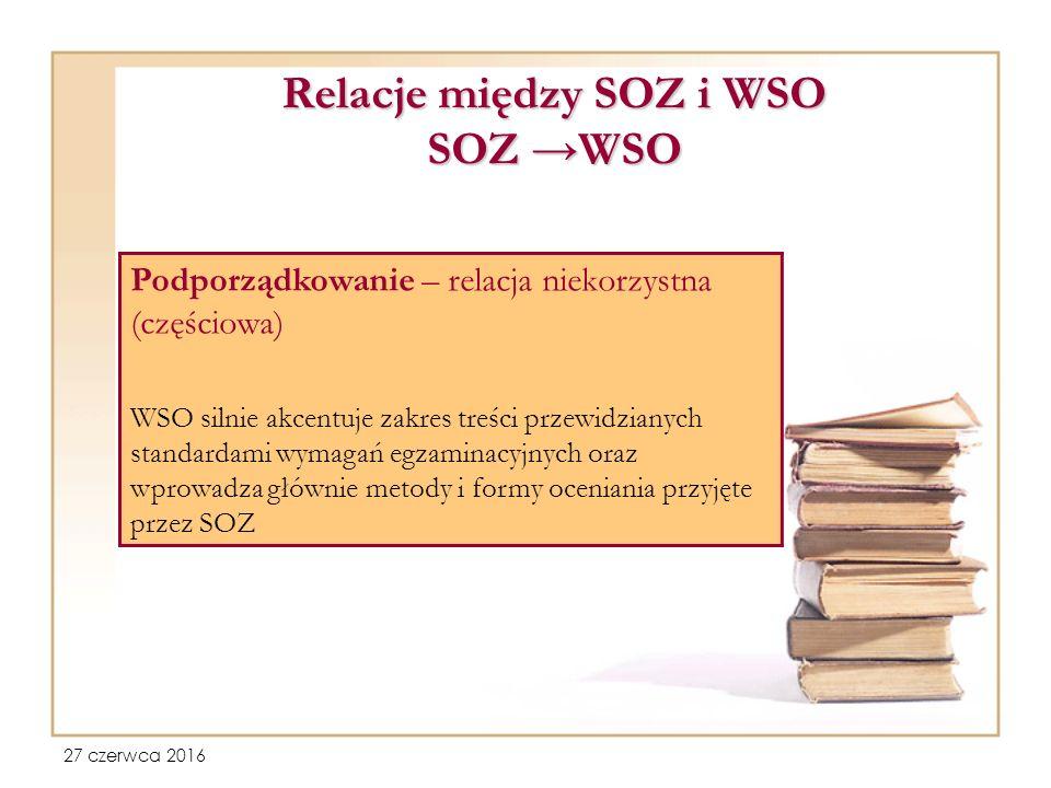 27 czerwca 2016 Relacje między SOZ i WSO SOZ →WSO Podporządkowanie – relacja niekorzystna (częściowa) WSO silnie akcentuje zakres treści przewidzianych standardami wymagań egzaminacyjnych oraz wprowadza głównie metody i formy oceniania przyjęte przez SOZ