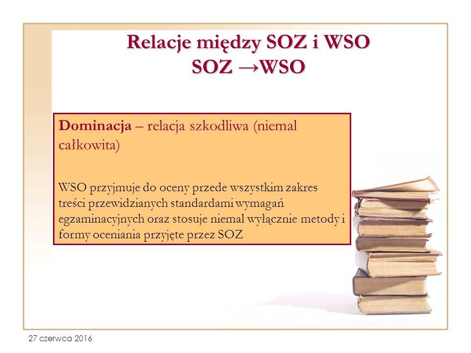 27 czerwca 2016 Relacje między SOZ i WSO SOZ →WSO Dominacja – relacja szkodliwa (niemal całkowita) WSO przyjmuje do oceny przede wszystkim zakres treści przewidzianych standardami wymagań egzaminacyjnych oraz stosuje niemal wyłącznie metody i formy oceniania przyjęte przez SOZ