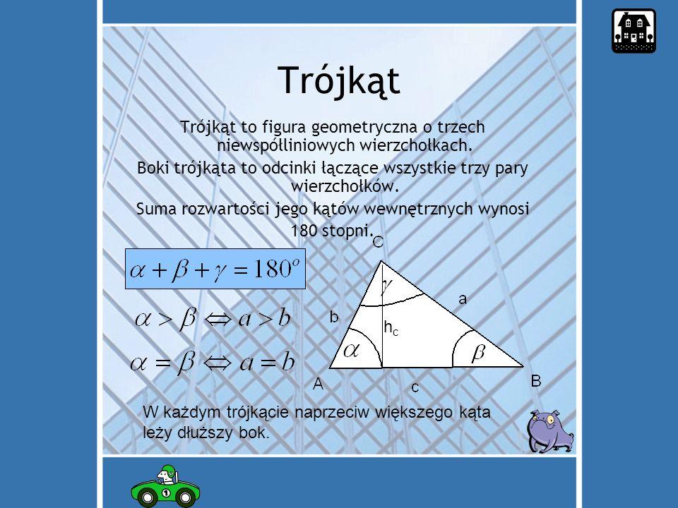 Trójkąt Trójkąt to figura geometryczna o trzech niewspółliniowych wierzchołkach.